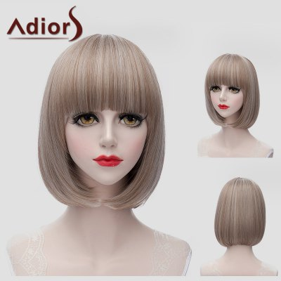 Sweet Short Bob Style Straight Flax Full Bang Synthetic Universal Wig For Women