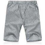 cheap Lace Up Loose Vertical Stripe Fifth Pants Beach Shorts For Men