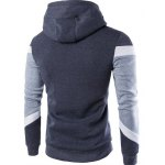 cheap Vogue Hooded Color Lump Splicing Long Sleeves Pullover Hoodie For Men