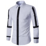 Buy Slimming Shirt Collar Color Block Button Fly Stripes Spliced Long Sleeves Men 2XL