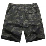 cheap Loose-Fitting Lace-Up Camouflage Pocket Design Straight Leg Shorts For Men