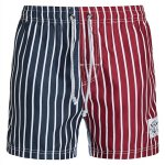 Straight Leg Drawstring Color Block Splicing Vertical Stripes Print  Men's Board Shorts