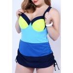 cheap Simple Color Block Push Up One Piece Swimsuit For Women