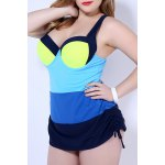 Simple Color Block Push Up One Piece Swimsuit For Women deal