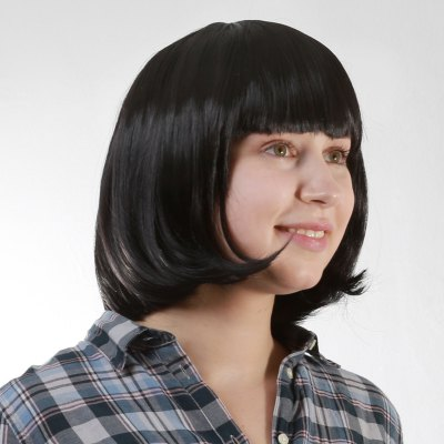 Fashion Short Straight Black Bob Style Neat Bang Capless Heat Resistant Synthetic Womens WigSynthetic Hair Wigs<br>Fashion Short Straight Black Bob Style Neat Bang Capless Heat Resistant Synthetic Womens Wig<br><br>Type: Full Wigs<br>Cap Construction: Capless<br>Style: Straight<br>Material: Synthetic Hair<br>Bang Type: Full<br>Length: Short<br>Length Size(Inch): 12<br>Weight: 0.264KG<br>Package Contents: 1 x Wig