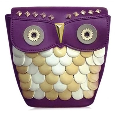 Cute Owl Pattern and Rivets Design Crossbody Bag For Women