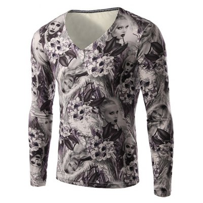 Flower and Beauty Pattern Slimming V-Neck Long Sleeves 3D Printed T-Shirt For Men