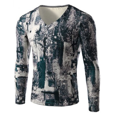 Modish V-Neck 3D Mysterious Forest Print Long Sleeves Slimming T-Shirt For Men