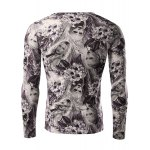cheap Flower and Beauty Pattern Slimming V-Neck Long Sleeves 3D Printed T-Shirt For Men