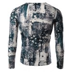 cheap Modish V-Neck 3D Mysterious Forest Print Long Sleeves Slimming T-Shirt For Men