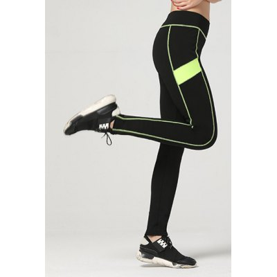 Active Color Block Skinny Yoga Pants For Women