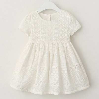 Stylish Short Sleeve Round Neck Hollow Out Girl's Dress