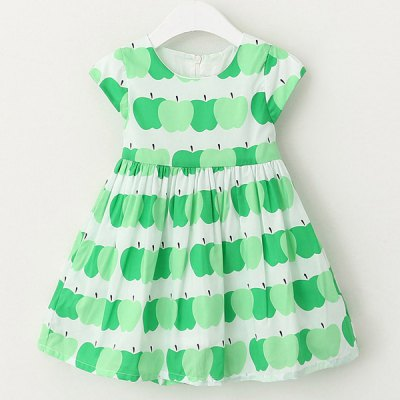 Stylish Round Neck Apple Print Cap Sleeve Girls DressGirls Clothing<br>Stylish Round Neck Apple Print Cap Sleeve Girls Dress<br><br>Style: Cute<br>Material: Cotton Blend<br>Silhouette: A-Line<br>Dresses Length: Mini<br>Neckline: Round Collar<br>Sleeve Length: Short Sleeves<br>Pattern Type: Print<br>With Belt: No<br>Season: Summer<br>Weight: 0.370KG<br>Package Contents: 1 x Dress