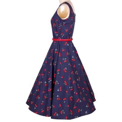 Cherry Print Midi A Line Dress With BeltSleeveless Dresses<br>Cherry Print Midi A Line Dress With Belt<br><br>Dresses Length: Mid-Calf<br>Material: Cotton Blend, Polyester<br>Neckline: Jewel Neck<br>Package Contents: 1 x Dress  1 x Belt<br>Pattern Type: Print<br>Season: Summer<br>Silhouette: A-Line<br>Sleeve Length: Sleeveless<br>Style: Vintage<br>Weight: 0.226kg<br>With Belt: Yes