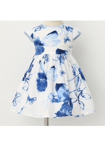 Stylish Round Neck Floral Print Cap Sleeve Girl's Dress