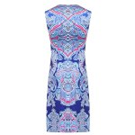 best Retro Style Jewel Neck Sleeveless Colorful Printed Sheathy Prom Dress For Women