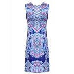 Retro Style Jewel Neck Sleeveless Colorful Printed Sheathy Prom Dress For Women for sale