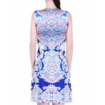 Retro Style Jewel Neck Sleeveless Colorful Printed Sheathy Prom Dress For Women deal