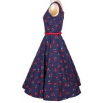 cheap Vintage Jewel Neck Sleeveless Cherry Print Flare Dress For Women