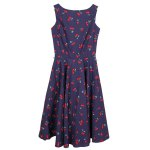 Vintage Jewel Neck Sleeveless Cherry Print Flare Dress For Women for sale