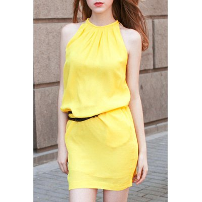 Stylish Round Neck Sleeveless Solid Color Dress For Women