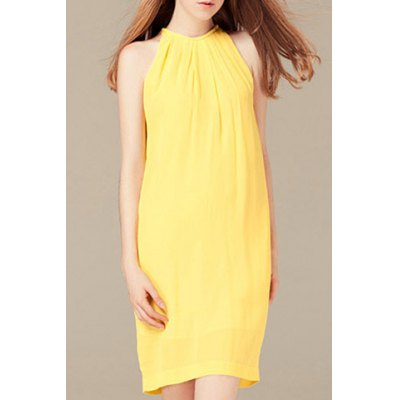 Round Neck Sleeveless Solid Color Dress For Women