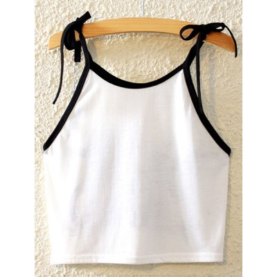 Stylish Spaghetti Strap Lace-Up Printed Tank Top For Women