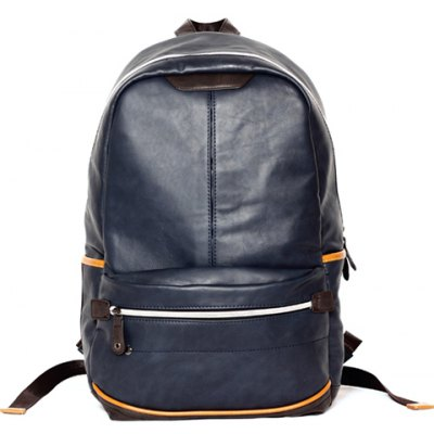 Leisure PU Leather and Zip Design Backpack For Men