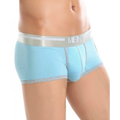 Elastic Waist Side Hollow Out Design Boxer Brief For Men