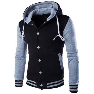 Color Block Single Breasted Hoodie For Men