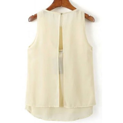 Sweet Round Neck Open Back Tank Top For Women