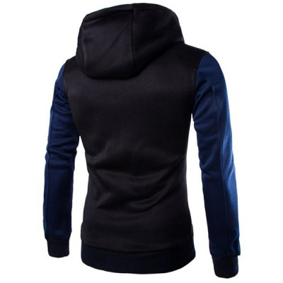 Slim Fit Color Block Single Breasted Hoodie For Men