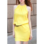 cheap Stylish Round Neck Sleeveless Solid Color Dress For Women
