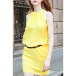 Stylish Round Neck Sleeveless Solid Color Dress For Women deal