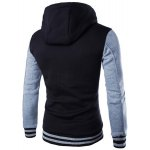 cheap Slim Fit Color Block Single Breasted Hoodie For Men