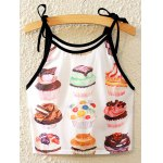 Stylish Spaghetti Strap Cake Print Lace-Up Tank Top For Women