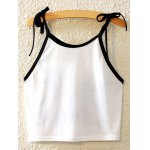 cheap Stylish Spaghetti Strap Cake Print Lace-Up Tank Top For Women