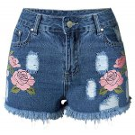 Trendy Embroideried Broken Hole Macrame Denim Women's Ripped Shorts