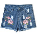 Trendy Embroideried Broken Hole Macrame Denim Women's Shorts for sale