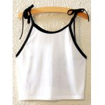 cheap Stylish Spaghetti Strap Lace-Up Printed Tank Top For Women