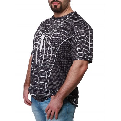 ФОТО Fashion Round Neck Slimming Color Block Spider-Man Print Short Sleeve Polyester T-Shirt For Men