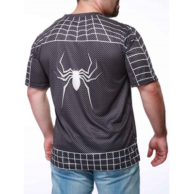 Фотография Fashion Round Neck Slimming Color Block Spider-Man Print Short Sleeve Polyester T-Shirt For Men