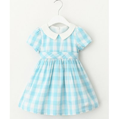 Sweet Short Sleeve Plaid Mini A-Line Dress For Girl