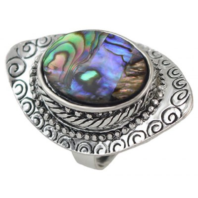 Retro Carving Oval Faux Crystal Ring For Women