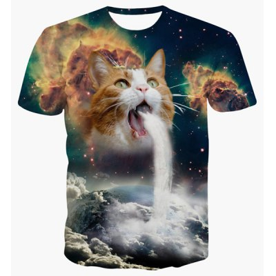 Round Neck 3D Cat Abstract Print Short Sleeve T-Shirt For Men