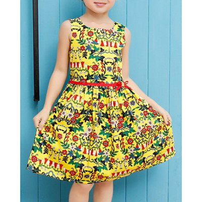 Cute Round Neck Sleeveless Floral Print Pleated Dress