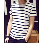 cheap Loose Fit Round Neck Color Block Stripes Short Sleeves T-Shirt For Men