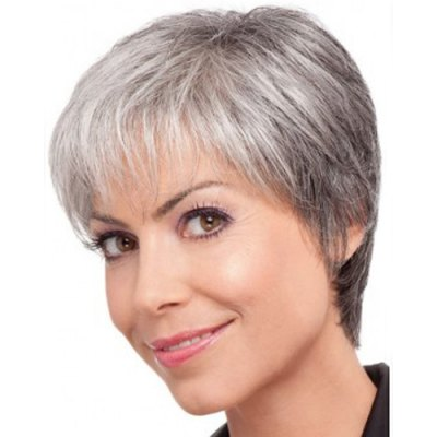Attractive Side Bang Mixed Color Synthetic Short Straight Wig For Elder Women