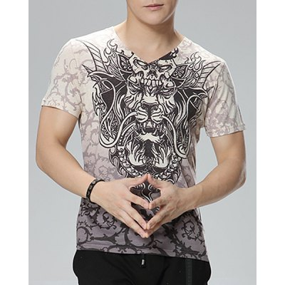Pullover V-Neck Printed Short Sleeves T-Shirt For Men