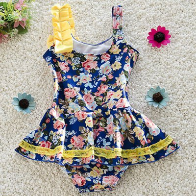 Sweet Spaghetti Strap Floral Print Girl's One-Piece Swimsuit